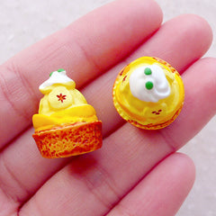 Miniature French Dessert / Dollhouse Banana & Peach Cake Cabochon (2pcs / 16mm x 20mm) Fake Sweets Jewelry Kawaii Decoden Phone Case FCAB473