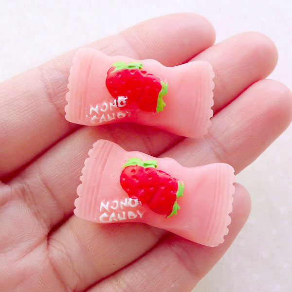 Fake Candy Cabochons / Kawaii Strawberry Hard Candy (2pcs / 31mm x 17mm / Pink / Flat Back) Sweets Deco Decoden Supplies FCAB474