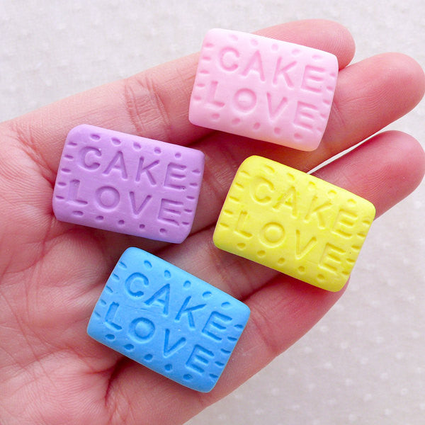 CLEARANCE Polymer Clay Biscuit Cabochons / Pastel Cookie Cabochon (4pcs / 25mm x 17mm) Fairy Kei Cabochon Fimo Sweets Deco Kawaii Decoden FCAB475