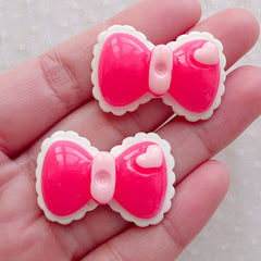 Kawaii Deco / Pink Bow Cabochon / Bowtie Cabochon (2pcs / 33mm x 22mm) Baby Hair Jewelry Decora Kei Hair Clip Bow Tie Embellishment CAB592