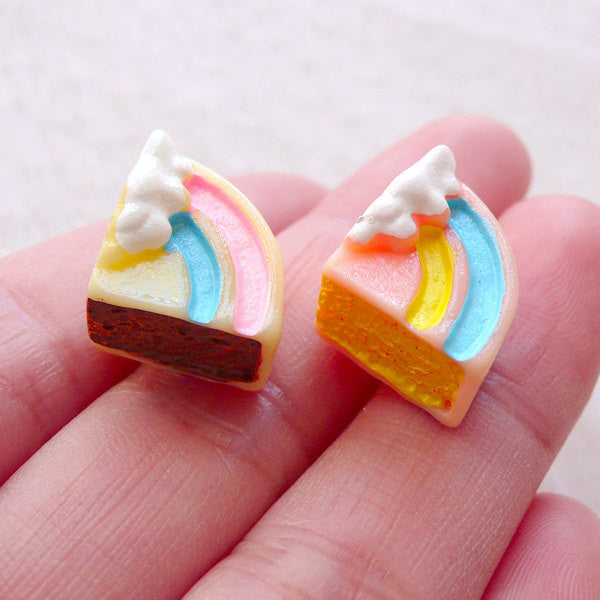 Fairy Kei Cabochons / Pastel Rainbow Cake Cabochon Mix (2pcs / 13mm x 14mm / 3D) Kawaii Jewelry Decoden Pieces Cute Embellishment FCAB483