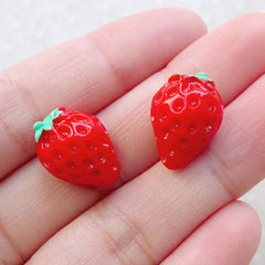 Mini Strawberry Cabochons / Kawaii Fruit Cabochon (2pcs / 12mm x 17mm / Red / 3D) Fake Food Jewelry Decoden Pieces Cute Sweets Deco FCAB481