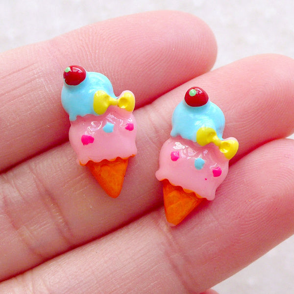 Cute Cabochons / Tiny Ice Cream Cabochon (2pcs / 9mm x 18mm / Flatback) Fairy Kei Jewelry Kawaii Decoden Pieces Stud Earrings Making FCAB484