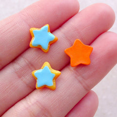 Doll Food Cabochon / Star Sugar Cookie Cabochon (3pcs / 10mm / Blue) Miniature Sweets Dollhouse Biscuit Fake Toppings Stud Earrings FCAB485