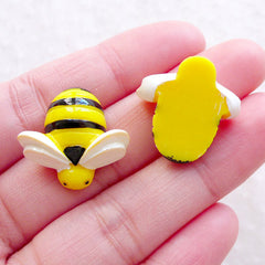 Honey Bee Cabochon (2pcs / 20mm x 20mm / Flatback) Cute Hair Bow Centers Baby Hair Jewelry Toddler Hair Clip DIY Insect Embellishment CAB595