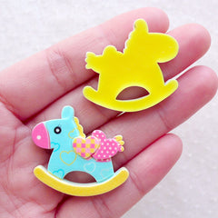 Kawaii Cabochons / Rocking Horse Cabochon Mix (7pcs / 32mm x 28mm) Decora Kei Hair Pin Decoden Pieces Baby Shower Decor Table Scatter CAB596