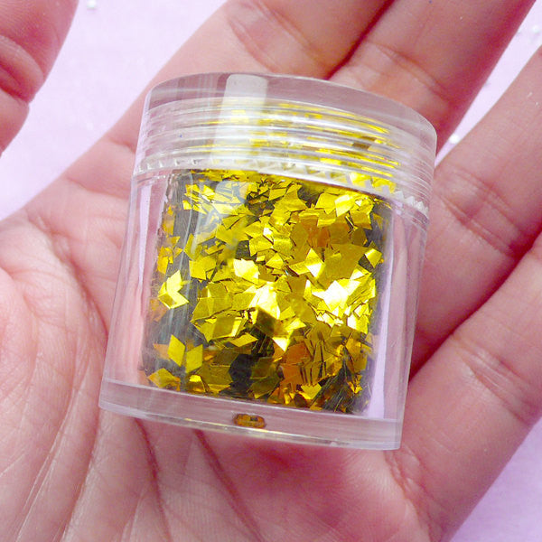 Gold Diamond Confetti / Mini Glitter Flakes / Rhombic Sprinkles for Resin Craft (Gold) Wedding Party Decor Scrapbook Nail Decoration SPK127
