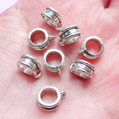 CLEARANCE Charm Hanger Ring Beads Dangle Charms Slider Spacer (8pcs) (8mm x 10mm / Tibetan Silver) Pendant Bracelet Earrings Keychains CHM248