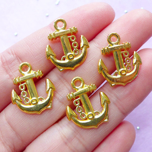 Anchor Charms (4pcs / 15mm x 18mm / Gold / 2 Sided) Nautical Earring Bracelet Cruising Sailing Boat Jewelry Cute Zipper Pull Bookmark CHM856