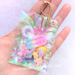 Rainbow Iridescent PVC Fabric Sheet | Transparent Vinyl Leather | Kawaii Accessory Making (Clear Blue / 20cm x 26cm / 0.1mm)