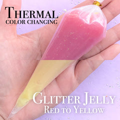 Thermochromic Deco Cream with Glitter | Thermocolor Jelly Whipped Cream | Thermal Color Changing Icing | Heat Sensitive Frosting (50g / Red to Yellow)
