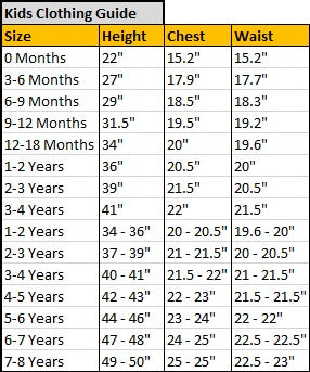 Kids Clothing Size Guide