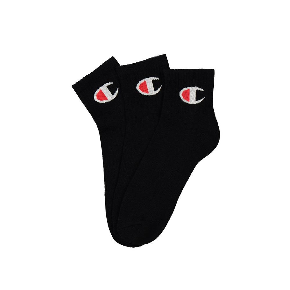 Champion C Logo Qtr Crew Sock 3 Pack - Black