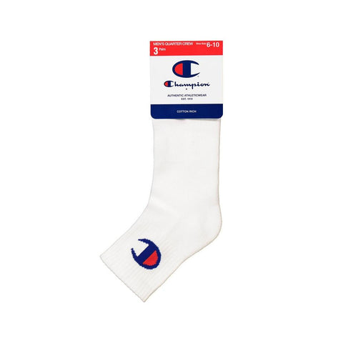 Champion C Logo Qtr Crew Sock 3 Pack - White