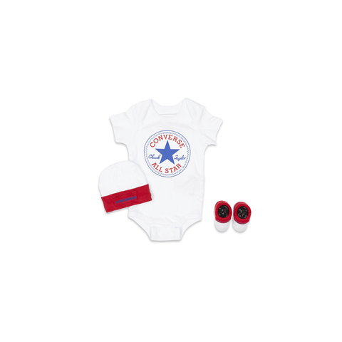 Converse Baby Classic Chuck Patch Three Piece Boxed Set - White / Red
