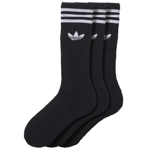 adidas Solid Crew Socks 3 Pack - Black