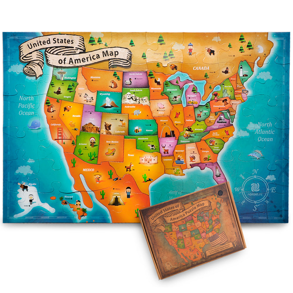 Us Floor Map Puzzle Best Usa Puzzle Map For Kids And Adults - Us-map-for-kids