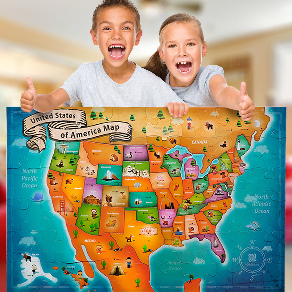 US Floor Map Puzzle - Best USA Puzzle Map for Kids and Adults ...