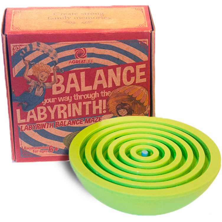 aGreatLife Labyrinth Balance Board Game - Includes 3 Steel Balls - Brain Teaser Puzzle Maze for Kids, Adults and Seniors - 3D Labyrinth Puzzle for Birthdays, Christmas (Green)