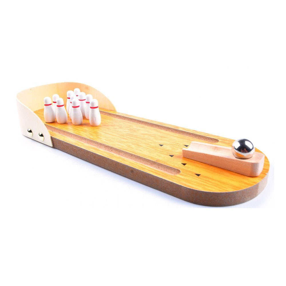 Awesome Wooden Mini Bowling Game Set With Lane: Best Interactive Tabletop Bowling  Game For Kids And ...