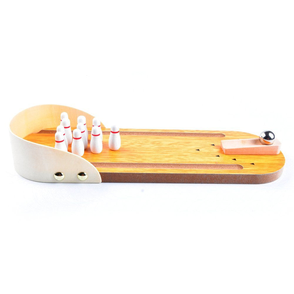 Wooden Mini Bowling Game Set with Lane for Kids and Adults