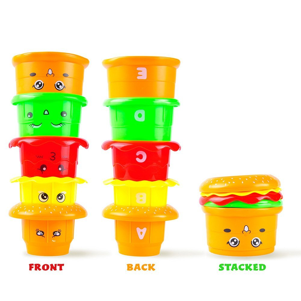 Stackable Nesting Cups: Early Educational Bath Time Toys For Babies and Toddlers