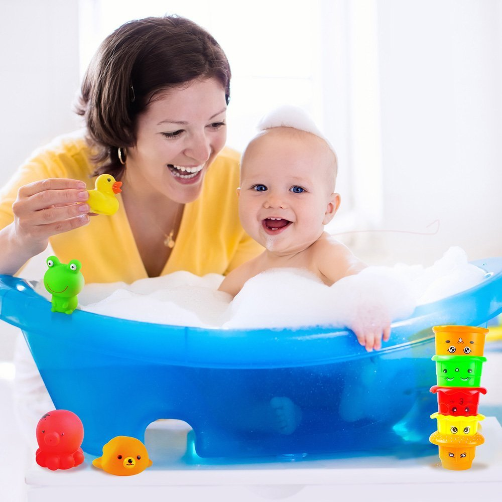 aGreatLife Stackable Nesting Cups: Early Educational Bathtime Toys For Babies and Toddlers