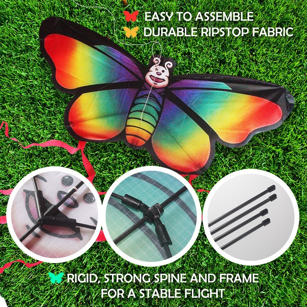 Rainbow Butterfly Kite For Beach and Outdoor Fun - Easy to Assemble and Launch Kite For Children