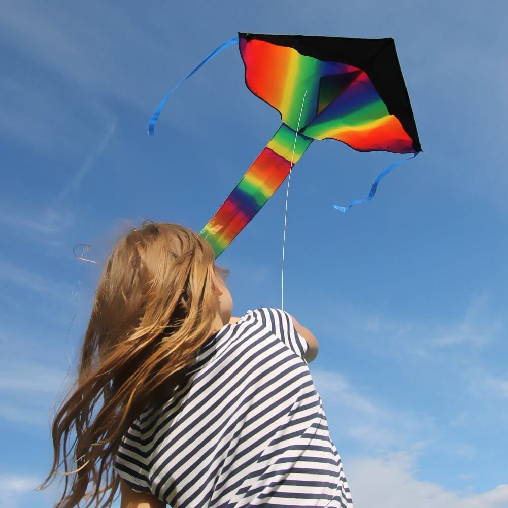 Huge Rainbow Kite For Kids - 43-inch Wingspan - Good Plan For Memorable Summer
