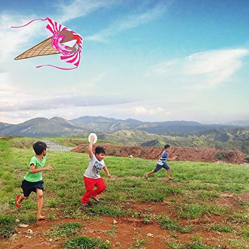 aGreatLife Awesome Ice Cream Kite Easy Flyer - Large - 47 Inch Rainbow Kite Best for Kids and Adults - Easy to Fly Even at The Slightest Breeze - with eBook, String, Spool, Rods, Perfect for The Beach