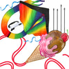 aGreatLife Large Rainbow Kites Bundle - Beautiful Rainbow and Ice Cream Includes Ebooks for How to Assemble and Fly a Kite, Spool and Strings - Double The Fun in Two of The Easy Flyer Huge Kites