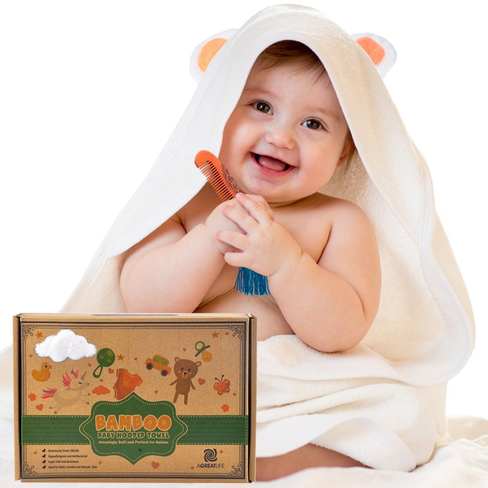 Bamboo Hooded Towel with Free Comb - Best Organic Bamboo Baby Hooded ...