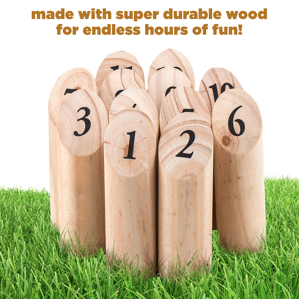 Wooden Throwing Game -The Ultimate Lawn Game for Family – Outdoor Wooden Timber Toss – Viking Bowling Yard Number Games – Best Interactive Way to Develop Math Skills - Includes Carry Bag.
