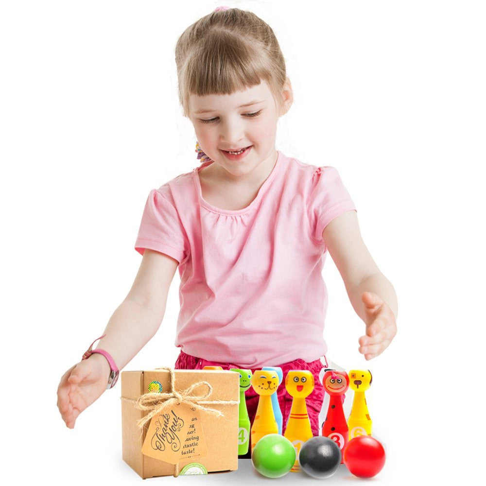 Mini Bowling Game Set for Kids: 10 Colorful Pins and 3 Bowling Balls