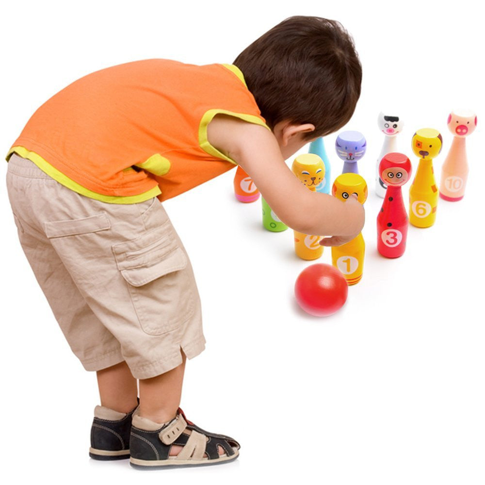Bowling Game Set for Kids: Best Indoor Bowling Set with 10 Colorful Wooden Character Pins and 3 Bowling Balls - Easy to Set Up and Fun to Knock Down - Perfect Bowling Toy that Works