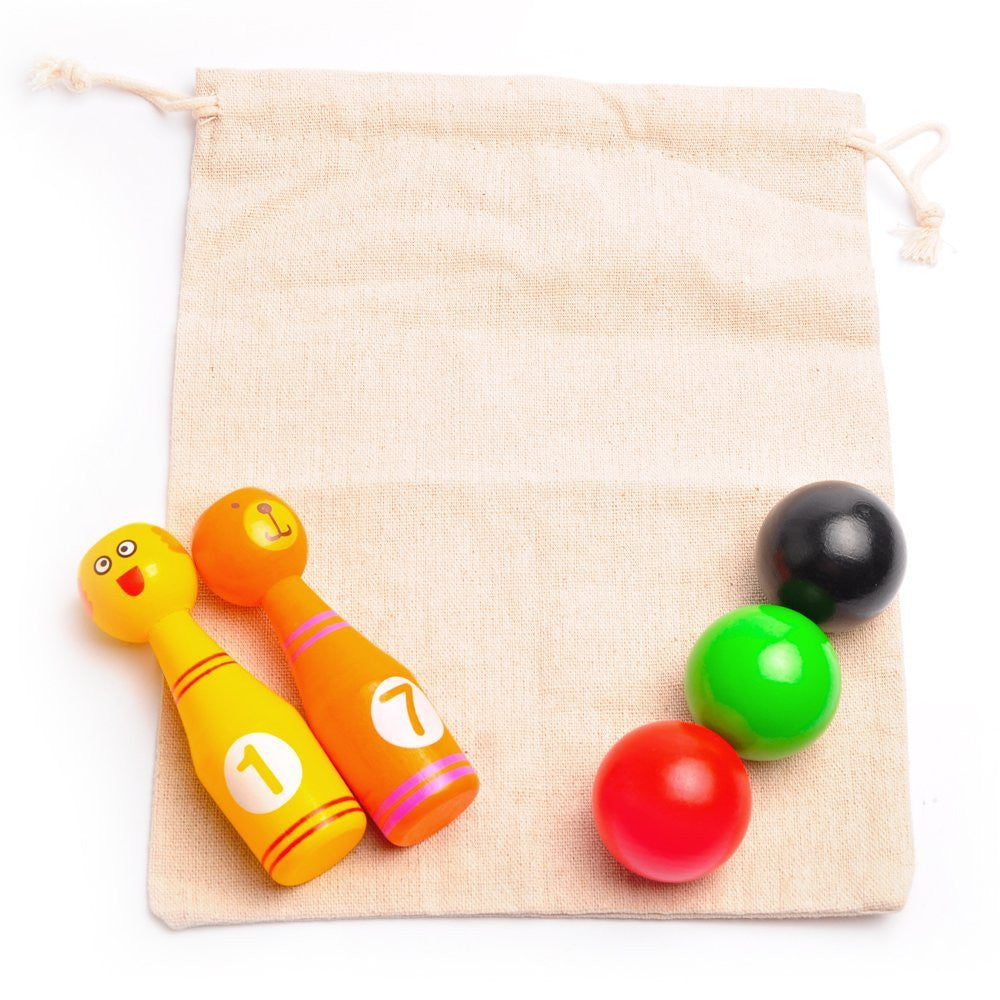 aGreatLife Mini Bowling Game Set for Kids - 10 Wooden Pins - 4 x 1.3 Inches and 3 Bowling Balls - 1.6 inches in Diameter - Best Desk Toys, Table Games for 3, 4, 5 Year - Old Boys and Girls Toddlers