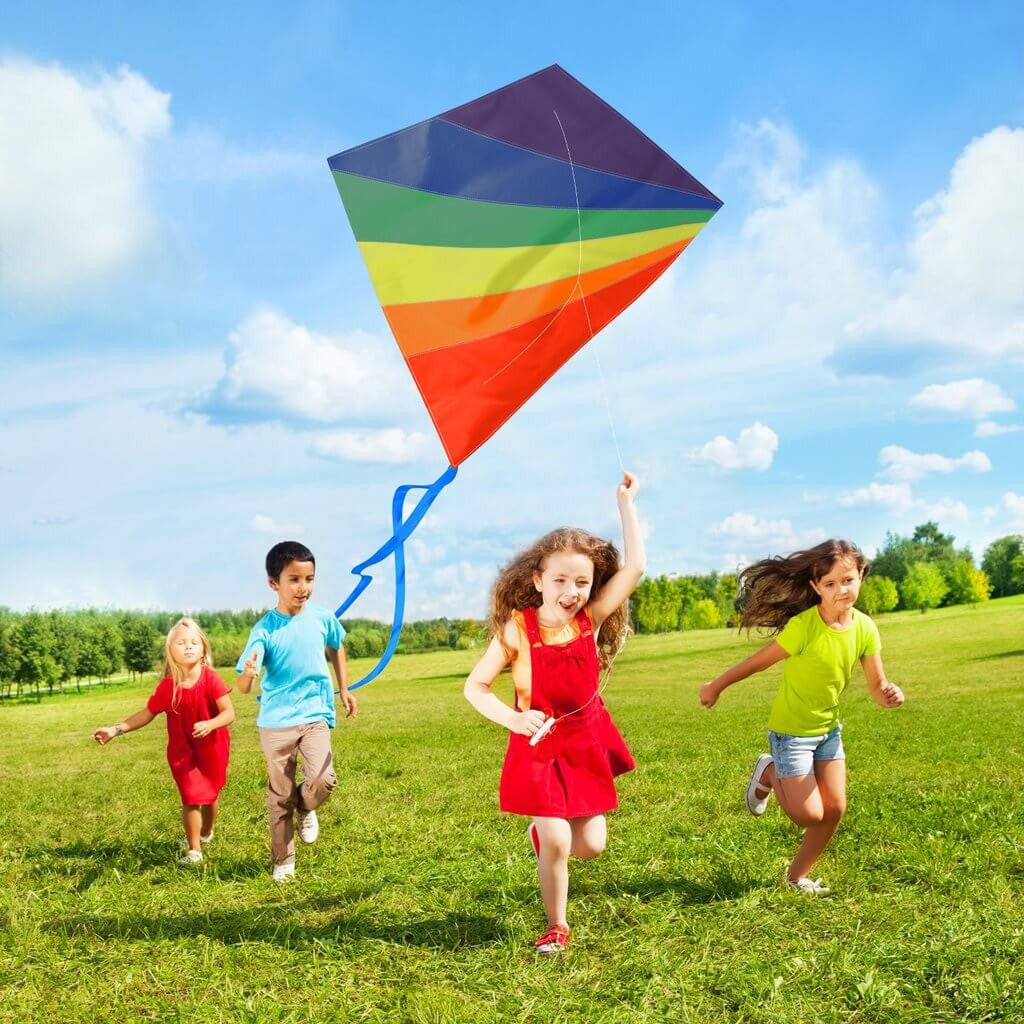 aGreatLife Boys Diamond Kite Easy Flyer - Large - 47 Inch Rainbow Kite Best for Kids and Adults - Easy to Fly Even at The Slightest Breeze - with eBook, String, Spool, Rods, Perfect for The Beach