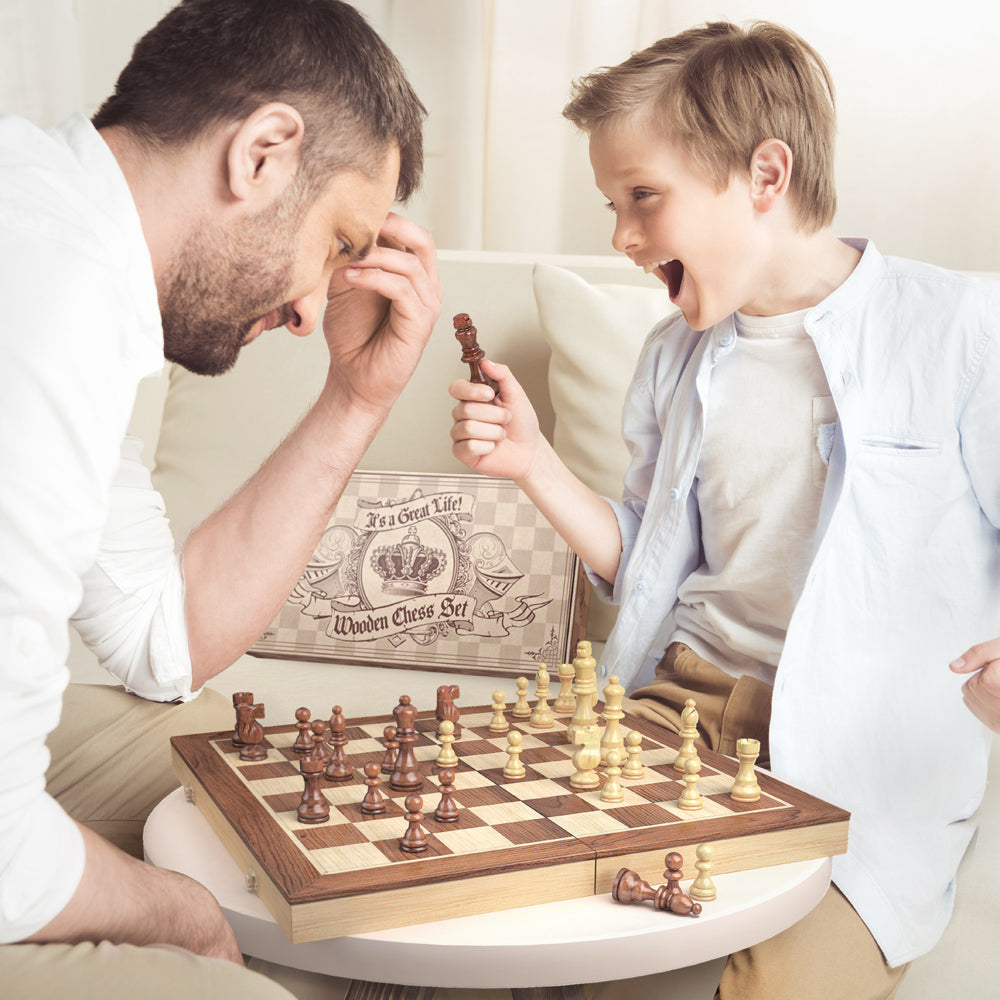 ... Wooden Chess Set: Universal Standard Wooden Chess Board Game Set    Handcrafted Wood Game Pieces ...