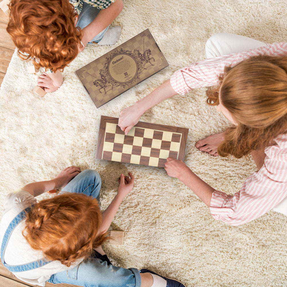 aGreatLife Wooden Chess Set: Universal Standard Wooden Chess Board Game Set  - Handcrafted Wood Game Pieces, Pawns - with 15-inch Board and with Magnet