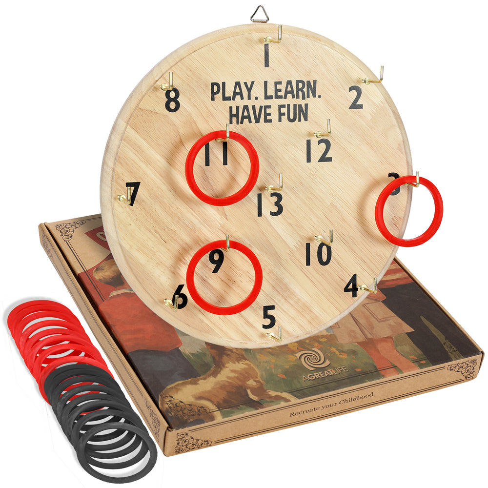Wooden Ring Toss Board Game Safest Fun for Kids and Adults - Best Back Yard Game That Includes 1 Wooden Board, 12 Hooks and 16 Rings - Super Fun Lawn, Outdoor Activity.