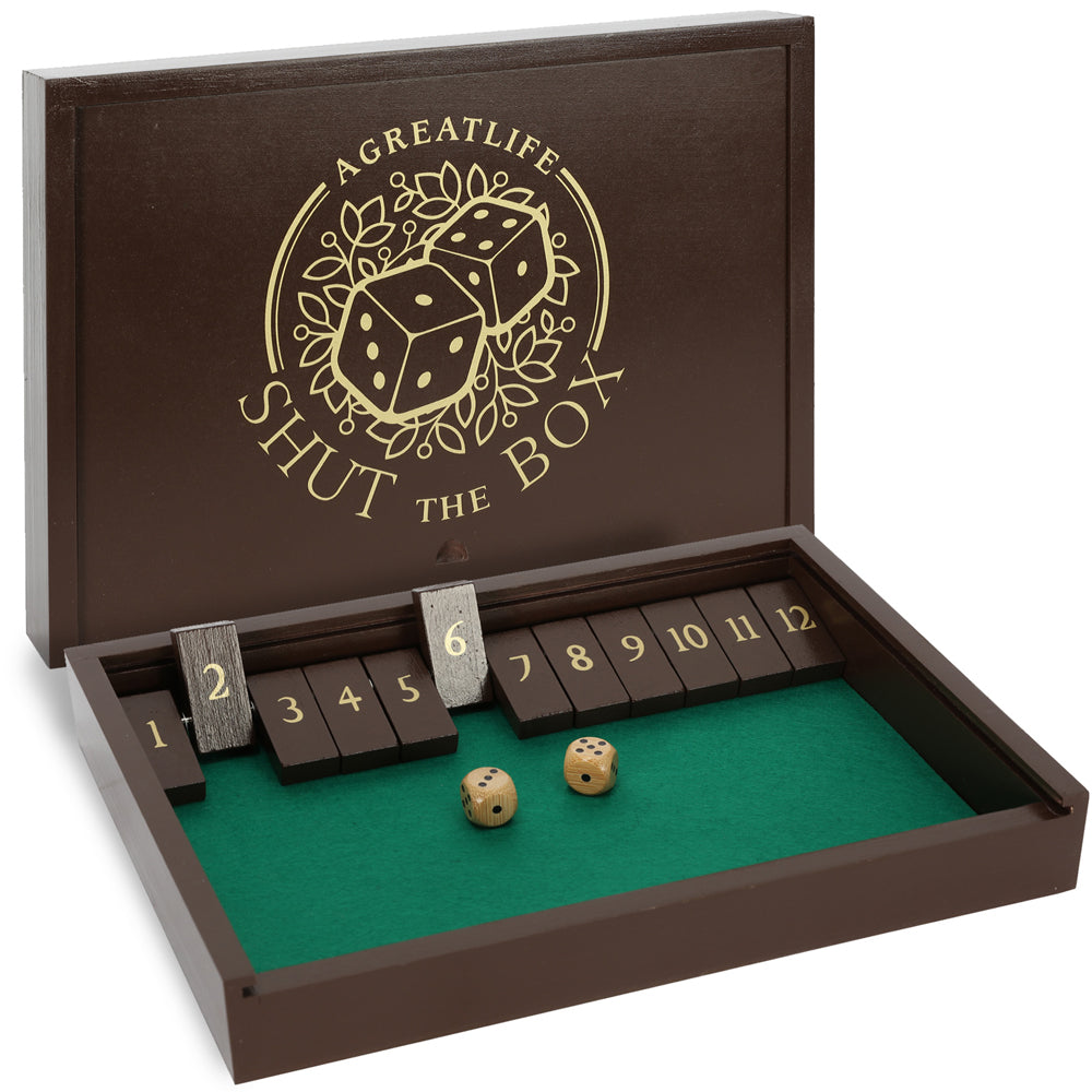 Wooden Shut The Box Game Deluxe Wooden Four Player Old Fashioned Dice Box - Nostalgic Fun Board Game - Classic English Pub Game for Adults and Kids.