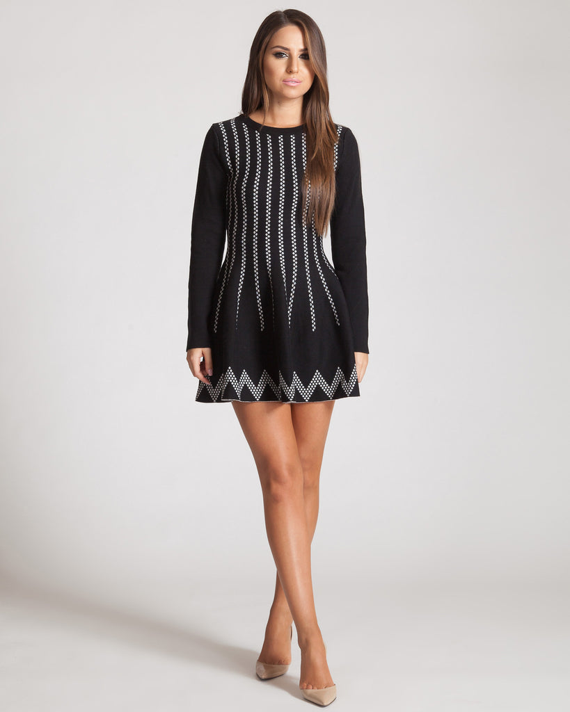 JOA LONG SLEEVED BLACK KNIT SKATER DRESS