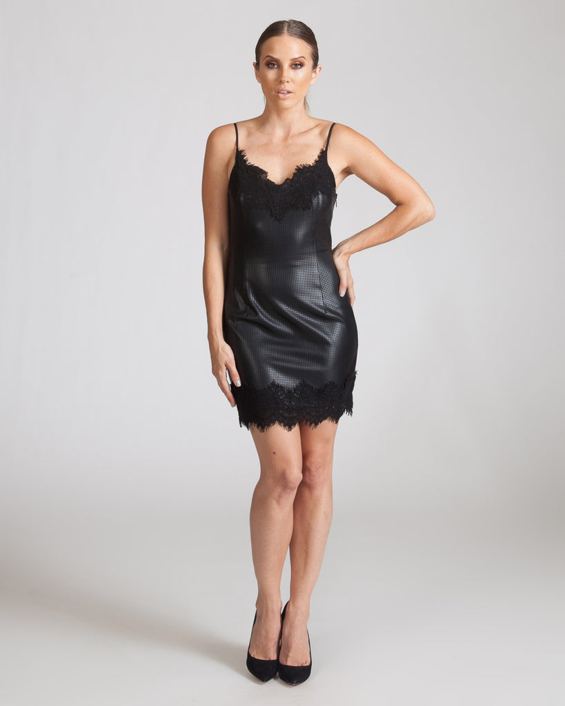 STYLESTALKER BLACK LEATHER SLIP DRESS