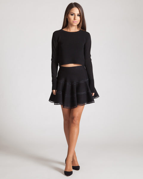 JOA BLACK KNIT SKIRT