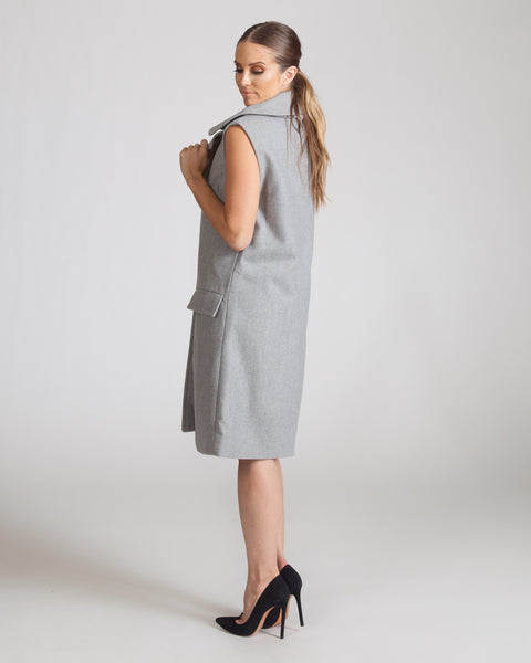 JOA GREY SLEEVELESS COAT