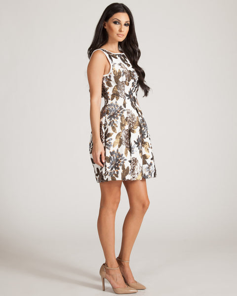 KEEPSAKE WONDERWALL IVORY SEQUINS DRESS