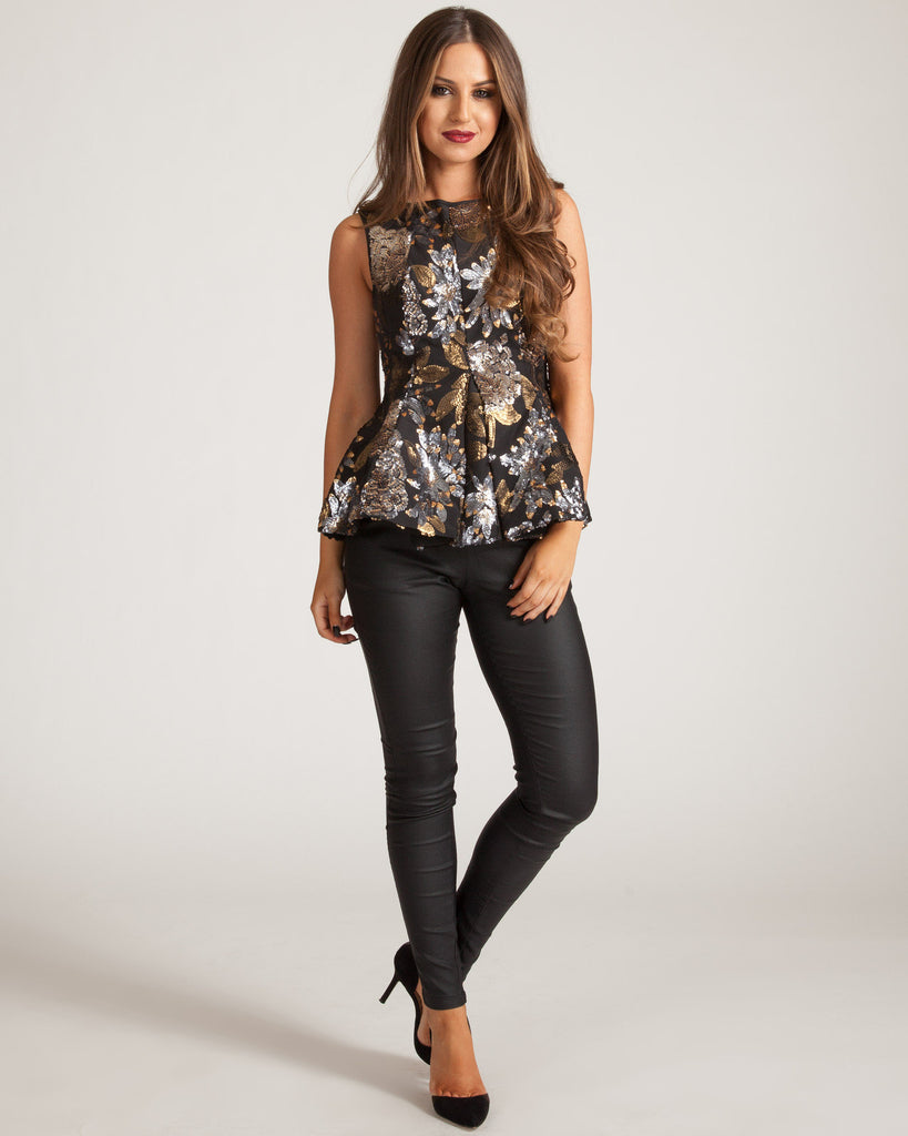 KEEPSAKE WONDERWALL BLACK SEQUINS TOP