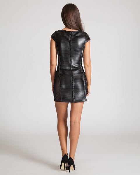 JAY GODFREY MCKEE LEATHER & MESH DRESS-BLACK