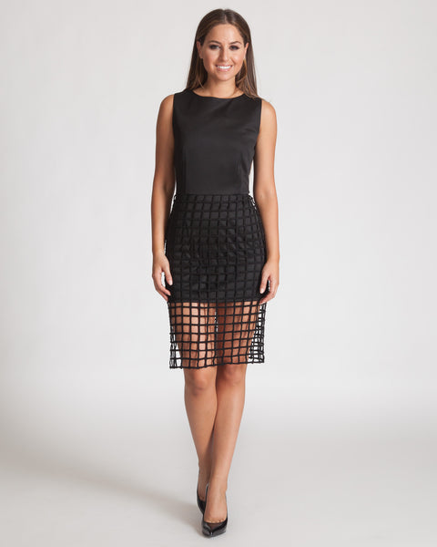 JOA BLACK CAGED OVERLAY DRESS