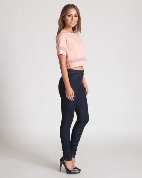 MADISON SQUARE PEACH SHORT SLEEVED CROP TOP